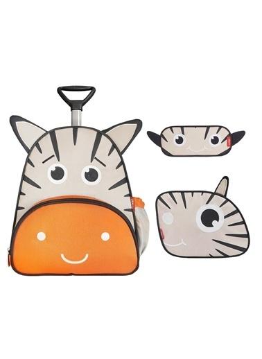 Zoozy Zebra Çekçekli Çanta Seti (Çekçekli Sırt Çanta-Beslenme Çantası-Kalemlik) Renkli